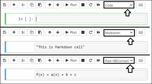various cell type in jupyter